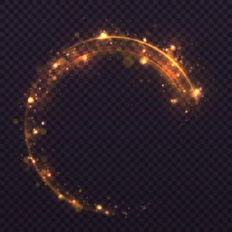 색종이 빛나는 파도. 황사 황색 스파크와 황금빛 별이 특별한 빛으로 빛납니다.