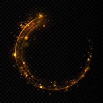 Сверкающая волна конфетти. желтая пыль желтые искры и золотые звезды сияют особым светом.