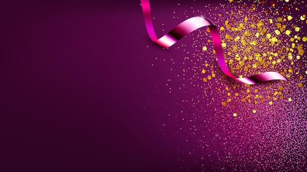 Конфетти глянцевое украшение баннер copyspace вектор. фестиваль конфетти ленты орнамент для празднования с днем рождения, рождеством или новым годом. праздничная вечеринка шаблон реалистичные 3d иллюстрации