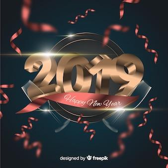 Confetti nuovo anno 2019 sfondo