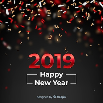 Confetti new year 2019 background