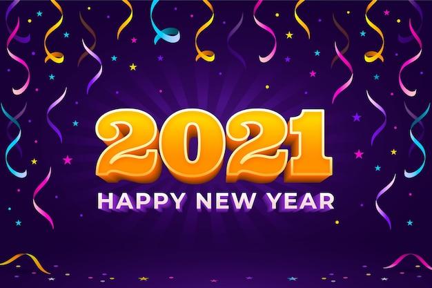 紙吹雪の新年2021年の背景