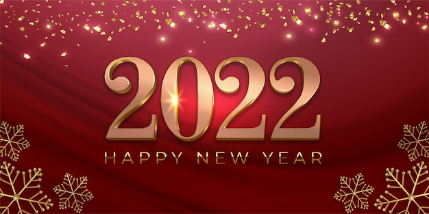 Confetti new year 2022 editable text number on red background