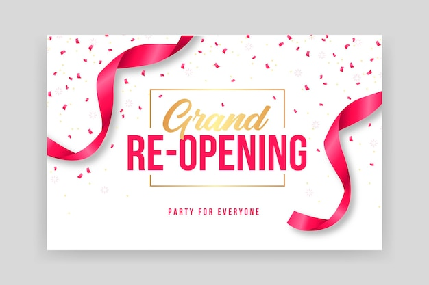 Confetti and ribbons grand re-opening banner template