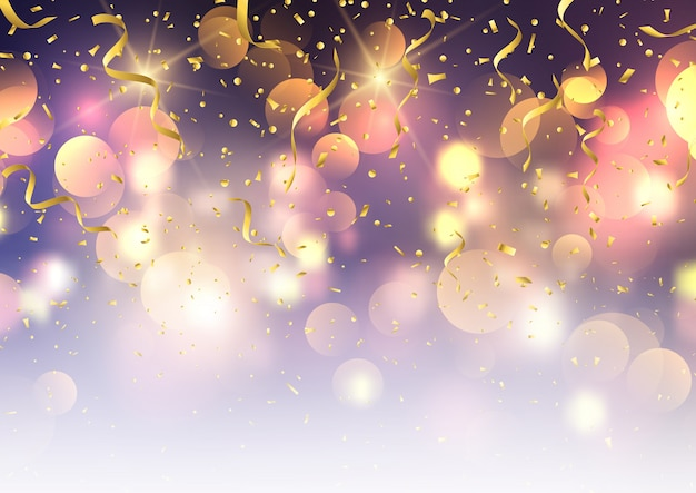 Confetti and streamers on bokeh lights background