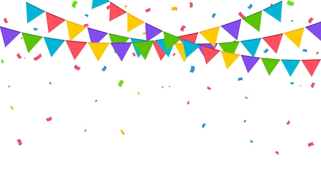Конфетти векторные иллюстрации праздничный фон партия концепция летающие ленты изолированные