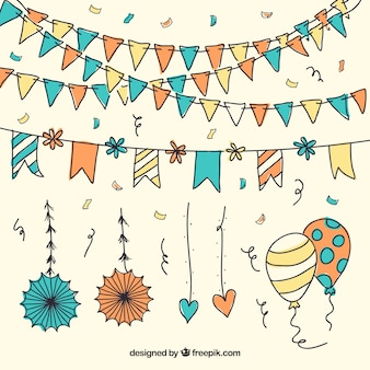 Confetti with garlands and balloons