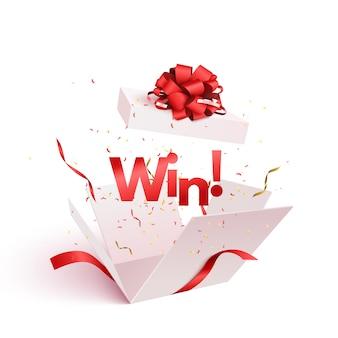 Раскройте подарочную коробку при изолированный взрыв взрыва confetti.