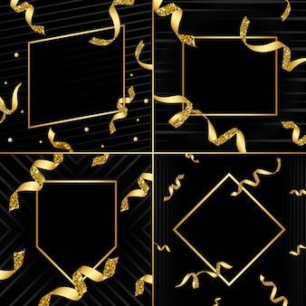 Confettiベクトルセットと空の黄金の紋章