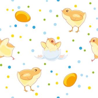 かわいい鶏とイースターシームレスパターン卵から色付きのconfettiの背景にひよこ