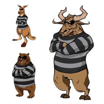 自信のある動物刑事のイラスト