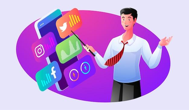 Эксперт по уверенности проводит анализ данных в социальных сетях