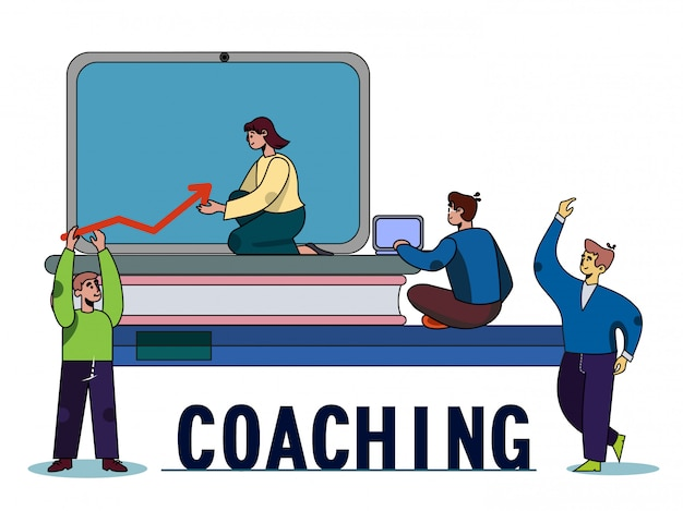 Confident business coach group on coaching poster