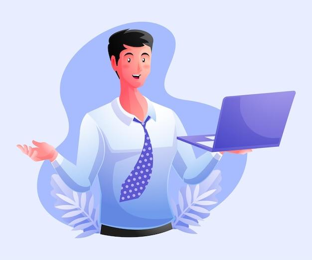 Уверенный бизнес-эксперт, держащий ноутбук
