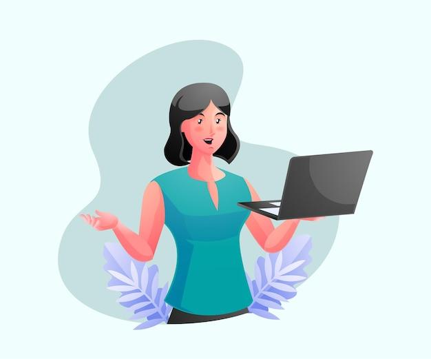 Уверенная деловая женщина-эксперт, держащая ноутбук