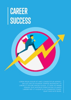 Confident businessman walking up the career stairs. concept of informative poster template with person walking to the success.