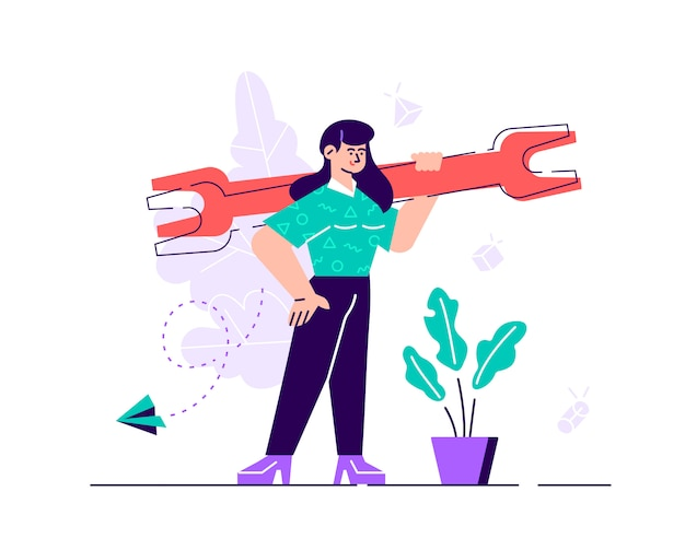 Confident businesswoman is holding a huge wrench. technical support concept.  flat style modern design  illustration for web page, cards, poster, social media.