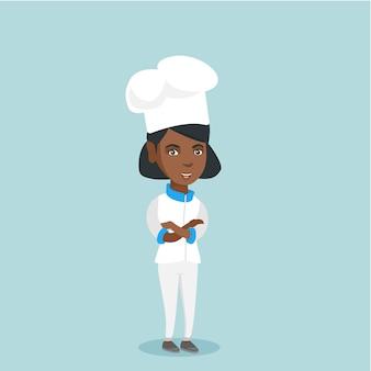 무기와 자신감 여성 수석 요리사 넘어.