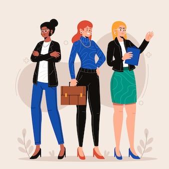 自信を持って女性起業家フラット手描き