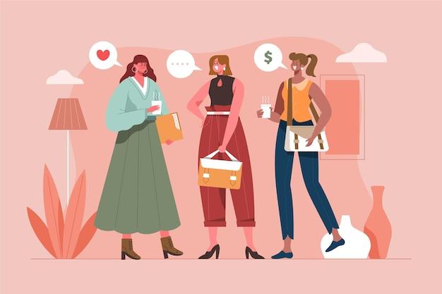 자신감 여성 기업가 평면 그림