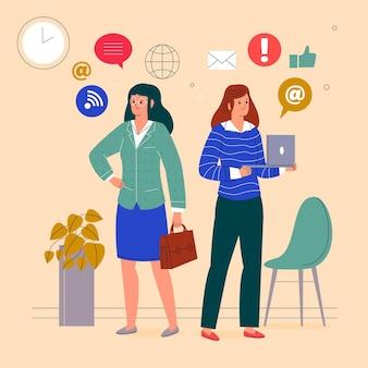 자신감있는 여성 기업가 일러스트