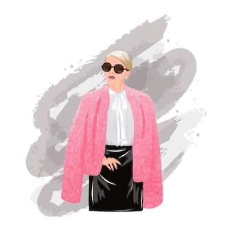 분홍색 모피 코트에 자신감 찾고 세련된 패션 여성. 현대 커리어 우먼.