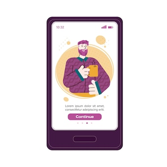 Confident man character on mobile phone screen vector illustration isolated