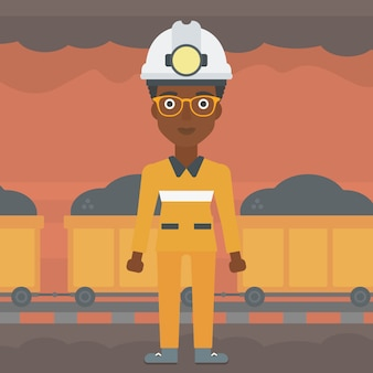 Confident miner in hardhat vector illustration.