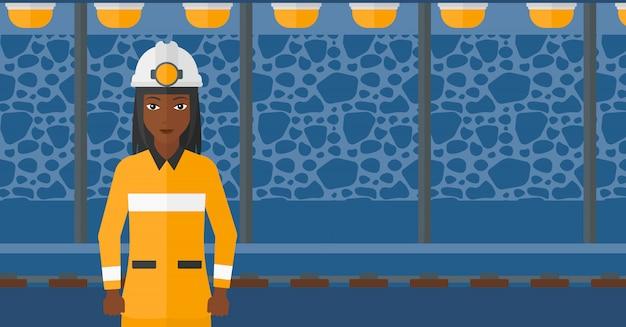 Confident miner in hardhat