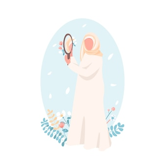 Confident muslim girl flat color faceless character. women empowerment. self acceptance for woman. self love isolated cartoon illustration