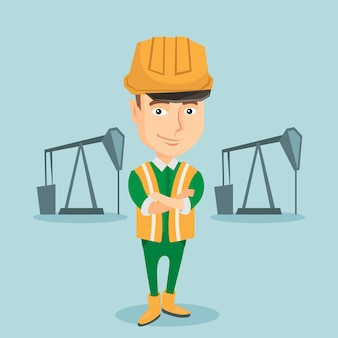 Confident oil worker vector illustration.