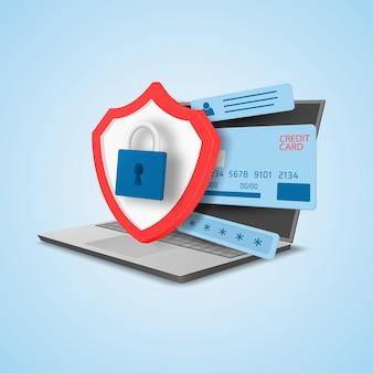 기밀 정보 보호 개념 신용 카드 개인 데이터 및 소프트웨어 보호