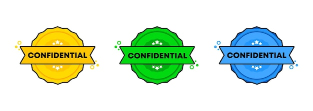Confidential stamp set. vector. confidential badge icon. certified badge logo. stamp template. label, sticker, icons. vector eps 10. isolated on white background.