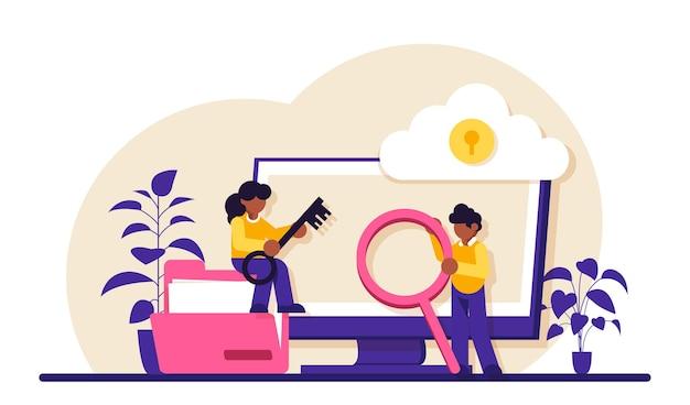기밀 유지. 사이버 또는 웹 보안 전문가. 디지털 데이터 보호 및 안전. 현대 기술과 가상 범죄. 인터넷의 보호 정보.