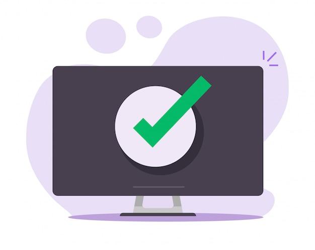 承認された通知を確認するデスクトップコンピューターのpcでメッセージのチェックマーク通知を受け入れる