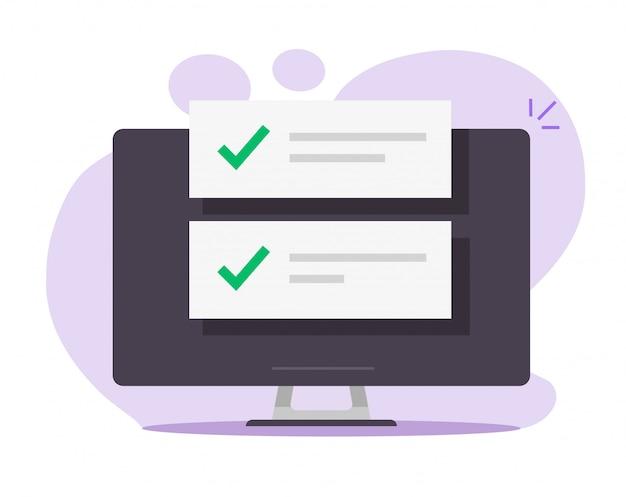 コンピューター画面の確認完了通知メッセージ通知リスト