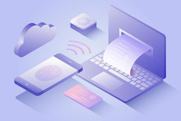Подтверждение оплаты по мобильному телефону, распечатка квитанции. pos терминал, оплата электронных счетов. 3d изометрические nfc оплаты концепция в плоском дизайне. иллюстрация