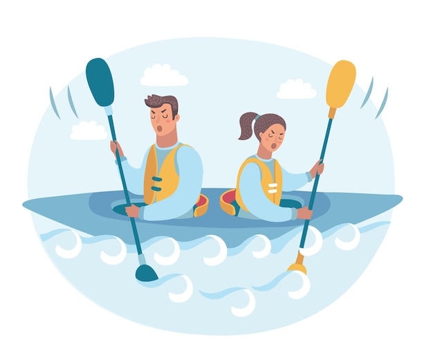 Conflict of interest two business man rowing in different directions