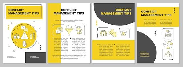 Советы по управлению конфликтами желтый шаблон брошюры. человеческие отношения. флаер, буклет, печать листовок, дизайн обложки с линейными иконками. векторные макеты для презентаций, годовых отчетов, рекламных страниц