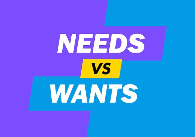 Conflict of need vs. want vector illustration.