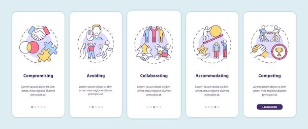충돌 해결 전략 온보딩 모바일 앱 페이지 화면. 작업 관계 연습 개념이 포함된 5단계 그래픽 지침. 선형 컬러 일러스트레이션이 있는 ui, ux, gui 벡터 템플릿