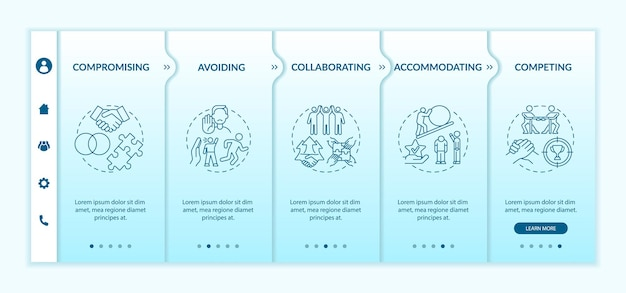 Conflict resolution strategies onboarding vector template. responsive mobile website with icons. web page walkthrough 5 step screens. communication color concept with linear illustrations