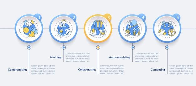 충돌 해결 전략 벡터 infographic 템플릿입니다. 관계 프레젠테이션 개요 디자인 요소입니다. 5단계로 데이터 시각화. 타임라인 정보 차트를 처리합니다. 라인 아이콘이 있는 워크플로 레이아웃