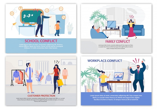 Conflict situation in daily life landing page set