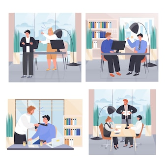 Conflict situations at work concept scenes set