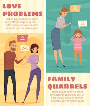 Conflict vertical banners with arguing love couple and mother