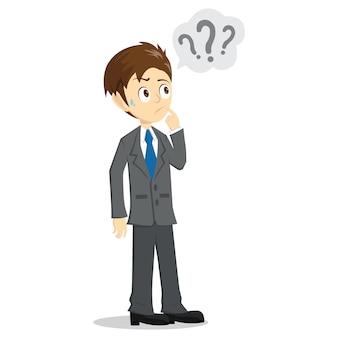 Confuse Businessman with Question Mark