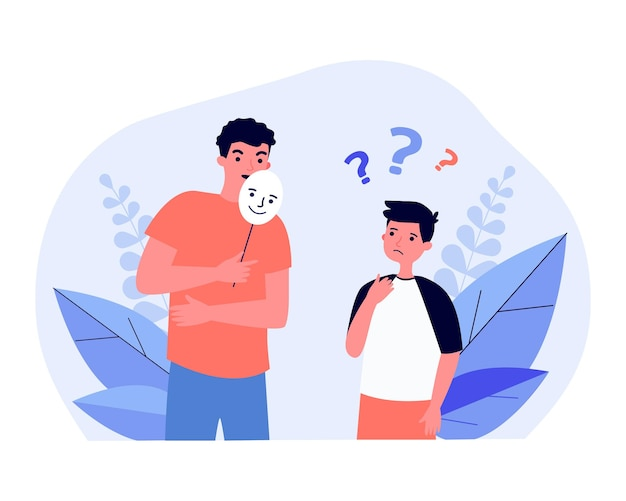 Confused boy looking at man covering face with smiling mask. liar talking to child, hiding identity or emotions flat vector illustration. disguise, psychology concept for banner, landing web page