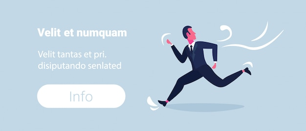 Confused business man running away from business problem stress concept