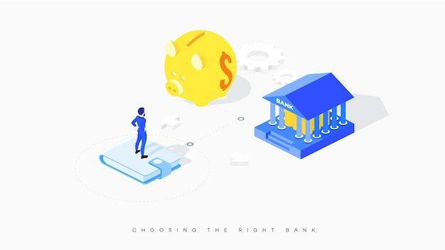 混乱したビジネスマンは、銀行と貯金箱の間の選択に直面しています。